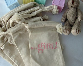 """it's a girl Baby Shower Favors, 10 """"it's a GIRL"""", Cotton Favor Bags 3x5"""