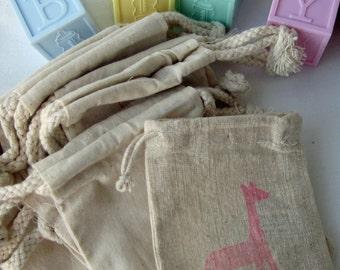 Baby Giraffe Shower Favor bags, Set of 10 Cotton Favor Bags
