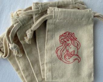 Ariel Little Mermaid Birthday Party Favors, Set of 10 Disney Princess Birthday Cotton Favor Bags. Size 5x6