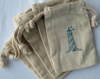 Beach Nautical Wedding Favors, 10 Lighthouse Beach Wedding Favors, Cotton Favor Bags 5x6