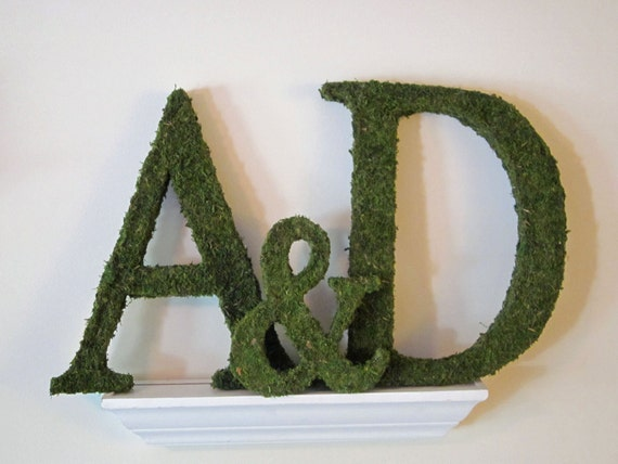 Moss Covered Monogram Letter and Ampersand Set For Wedding or Home - ( 18 inches )