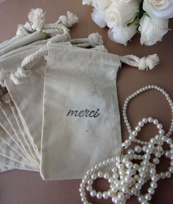 French Wedding Gifts: Wedding Favors 10 Merci French Style Script Cotton Favor