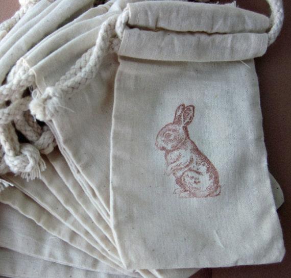 Peter Rabbit - Easter Bunny Basket Favor Bags - Set of 10 Bunny Cotton Favor Bags