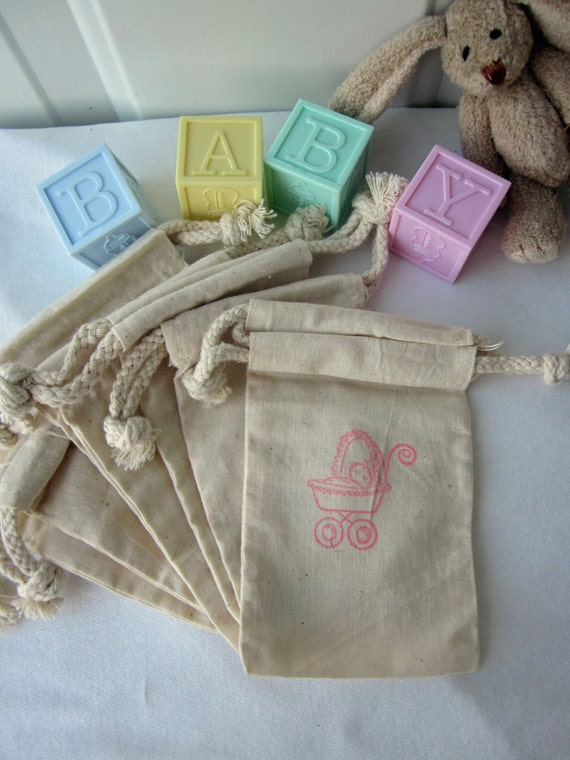 Carriage Baby Shower Favors, 10 Here comes baby, Cotton Favor Bags 3x5