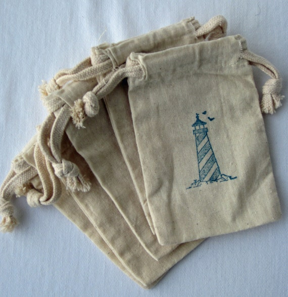 Beach Nautical Wedding Favors, Set of 10 Lighthouse Beach Wedding  Cotton Favor Bags