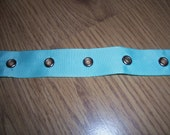 Aqua satin ribbed GROMMET Corset Ring TAPE 185cm Punk