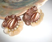 Vintage Brown Lucite and Rhinestone Clip On Earrings
