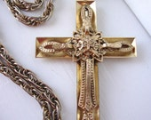 Vintage Whiting and Davis Large Cross Necklace
