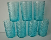 Vintage Aquamarine Anchor Hocking Soreno Juice Glasses Tumblers, Set of 7