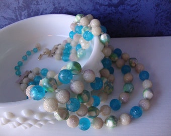 Vintage Multi Strand Necklace Blue Green and White Beaded Necklace
