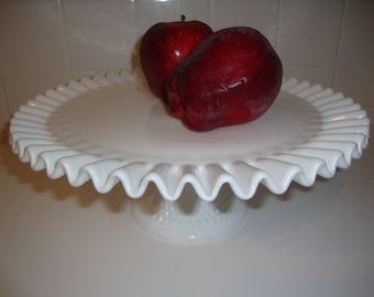 Vintage Fenton Hobnail Cake Plate Milk Glass Cake Stand Wedding Cake Plate