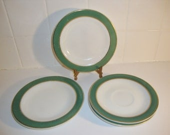 Vintage Pyrex Saucers Regency Green Plates and Saucers