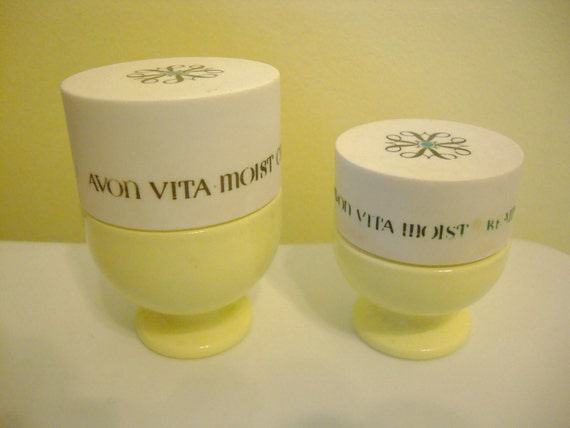 Vintage Avon Vita Moist Cream Footed Yellow Jars Set Of 2