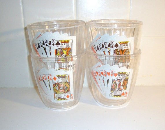 Vintage Insulated Acrylic Highball Tumblers with Cards