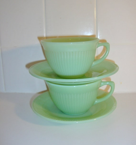 Vintage Fire King Jadeite Jane Ray Cups and Saucers, Set of 2