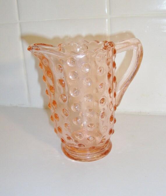 Vintage Pink Depression Glass Hobnail Creamer Pitcher
