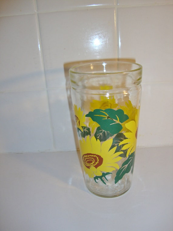 Vintage Sunflower Tumbler by Anchor Hocking