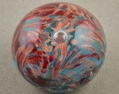 Sea Blue and Dark Multicolor Handblown Glass Paperweight