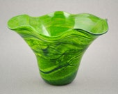 Sparkling Lime Green and Blue Waved Handblown Glass Vase