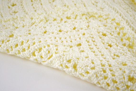 Intricate Crochet Baby Blanket Pattern : Baby Blanket Crocheted Intricate Ivory Lace Pattern By