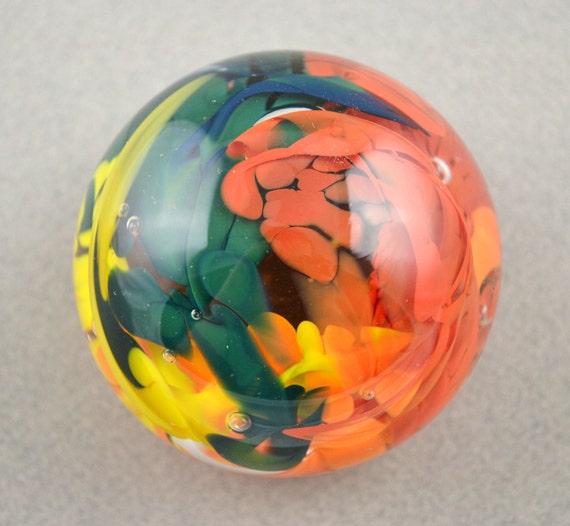 Rainbow Speckled Handblown Glass Paperweight