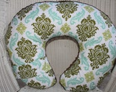 Avairy 2 Damask and Brown Minky Boppy Cover