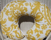 Yellow Suzani with White Minky Boppy Cover