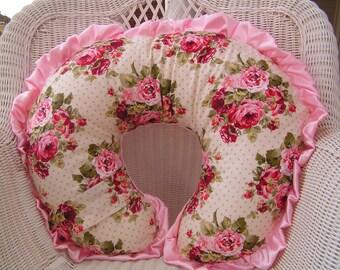 Shabby Chic Rose Garden and Minky Boppy Pillow Cover