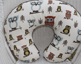 Nursing Pillow Cover - Woodland Owls with Brown Minky Boppy Cover - Woodland, Hoot, Owl, Ready to Ship