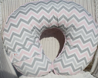 Pink Gray Chevrons with Light Pink Minky Boppy Cover