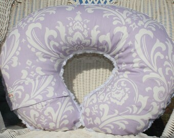 Nursing Pillow Cover - Lilac Damask and Minky Boppy Cover - Girl, Purple, Damask
