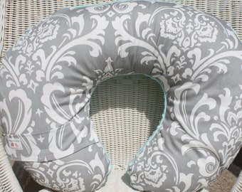 Nursing Pillow Cover - Damask and Light Pink Minky Boppy Cover