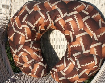 Nursing Pillow Cover - Footballs and Minky Boppy Cover - Sports, Football- Ready to Ship