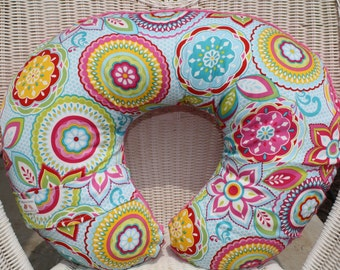 Nursing Pillow Cover - Mayan Floral and Minky Boppy Cover - Flowers, Pink, Ready to Ship