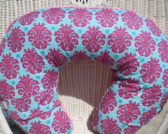 Hot Pink Aqua Damask with Hot Pink Minky Boppy Cover