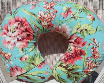 Nursing Pillow Cover - Amy Butler Love Bliss and Coral Minky Boppy Cover - Coral, Teal, Flowers, Floral