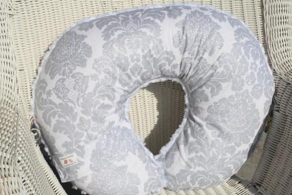 Platinum Sparkle Damask and White Swirl Minky Boppy Cover