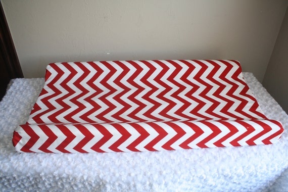 Red Chevron Contour Changing Pad Cover