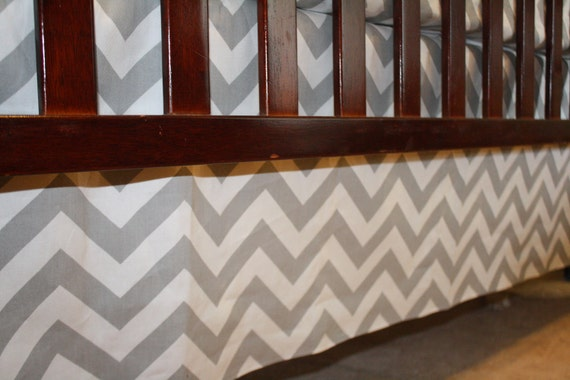 Grey Chevron Straight Crib Skirt