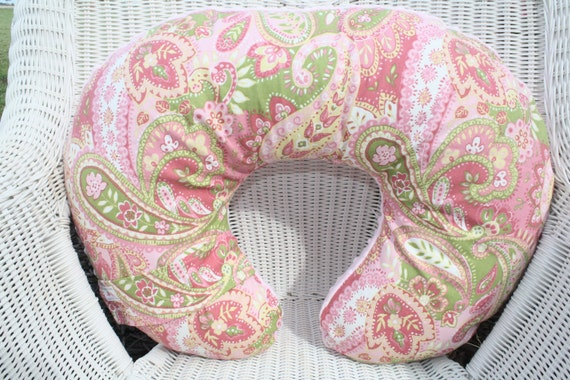 Pink Paisley and Light Pink Minky Boppy Cover