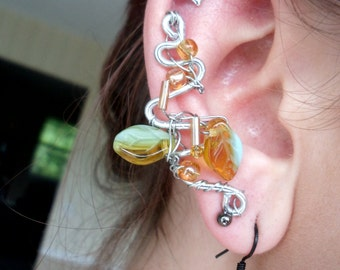 Golden Honey & Blue Skies Wire-Wrapped Ear Cuff
