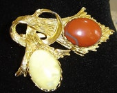 Gold Bloodstone and Jade Branch Brooch