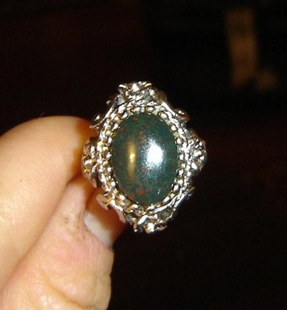 Vintage Renaissance Victorian Bloodstone Fairy Ring
