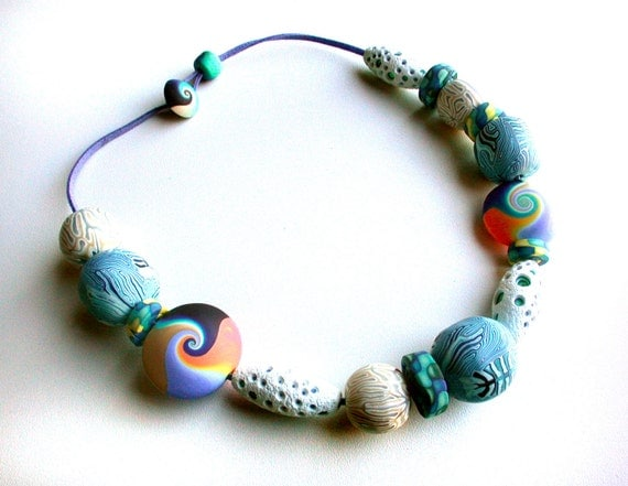 Polymer Clay Necklace: Sea mix