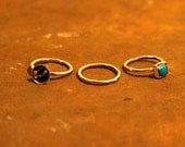 SOLD: Set of Three Stacked Rings Hand Hammered Silver and Turquoise