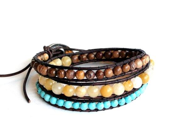Triple Wrap Golden Sun Multicolor Leather Wrap Bracelet
