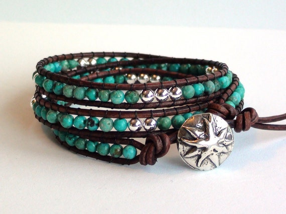 Turquoise and Sterling Silver Triple Wrap Leather Bracelet