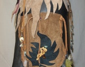 Spiral Trance Hand Stitched Day of the Dead Leather Pixie Pocket Skirt