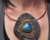 Spiral Trance Jasper Topography Pendant on Copper Collar 002