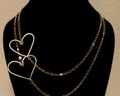 Double Gold Heart Chain Necklace, Hand Sculpted, Made to Order